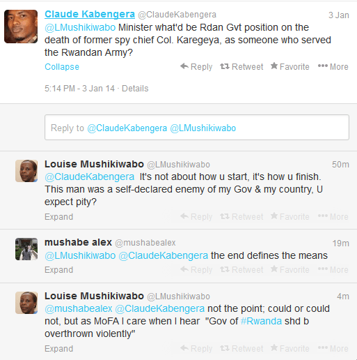 Mushikiwabo tweets about Karegeya's Assassination