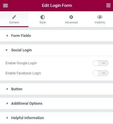 Login form widget UAE