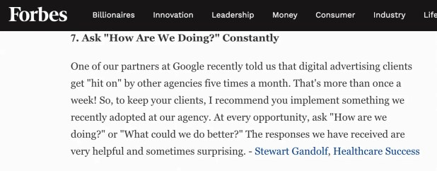 a forbes article with a quote from Stewart Gandolf, linking to our website