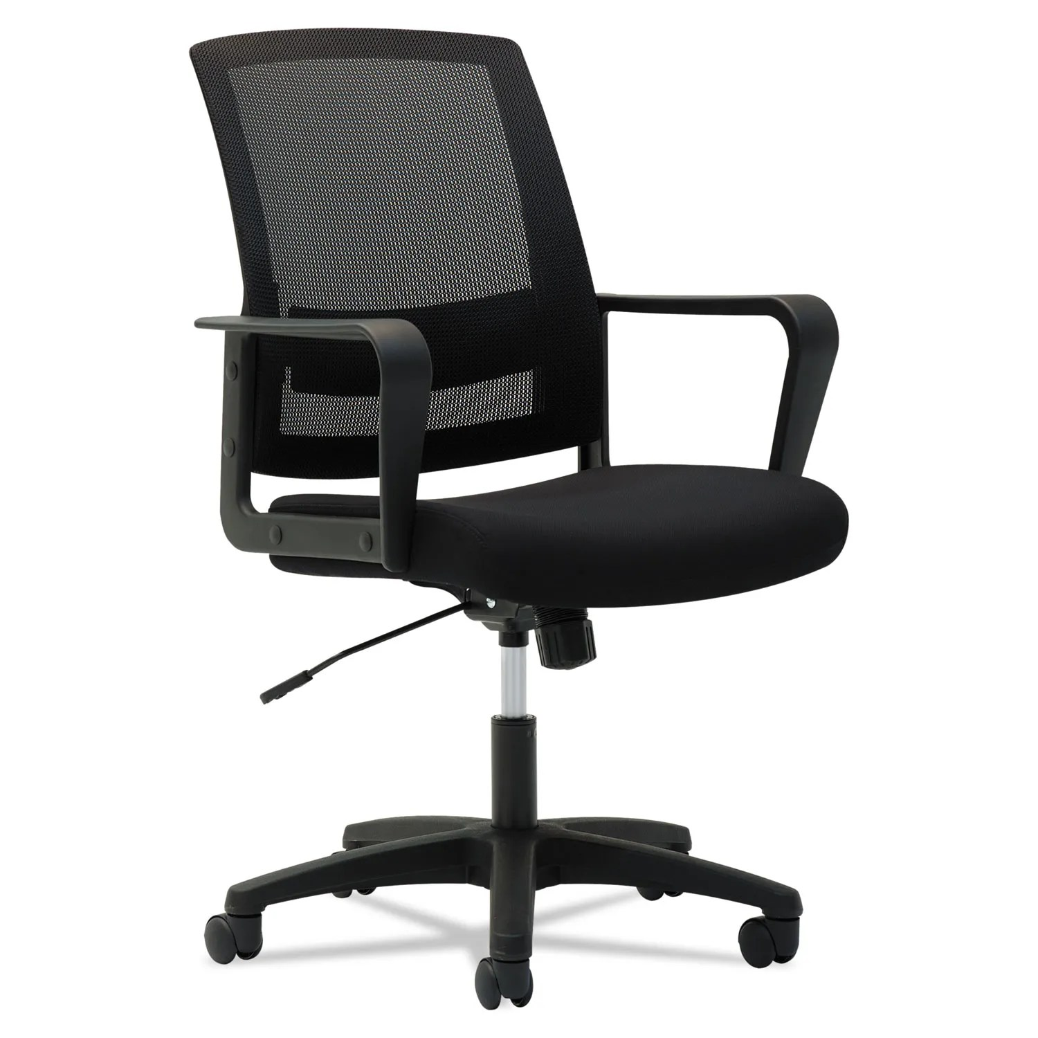 Mesh Mid Back Chair Supports Up To 225 Lbs Black Seat Black Back Black Base