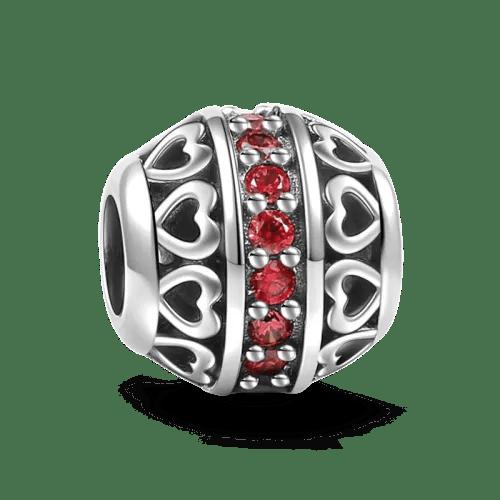 January Dark Red Birthstone Charm Silver Gifts