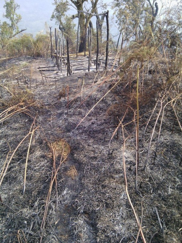The Hutu refugee camp in North Kivu Kirama bombed.  There are only the ashes