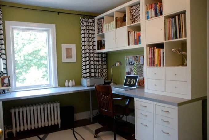 IKEA home office makeover with L shaped-desk