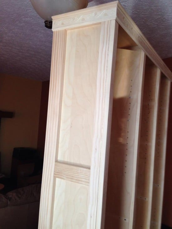 Some 1x3's served double purpose- decorative moulding and a stud for the interior hooks