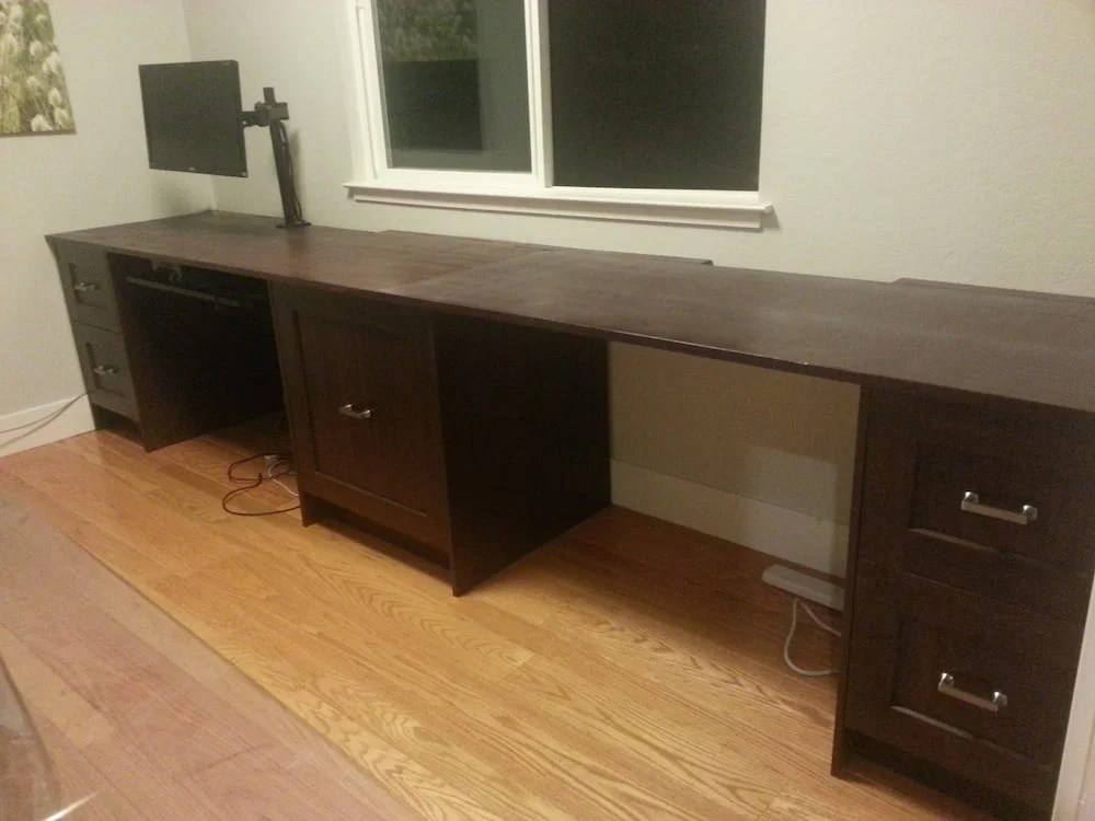 Epic I wanted a home office that looks like it was builtin but not built from the more simple lines of most of the Ikea desks So I decided to build this using