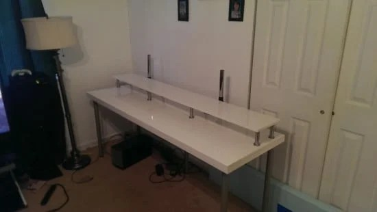 Ikea Closet Doors Into Workstation With Monitor Hutch