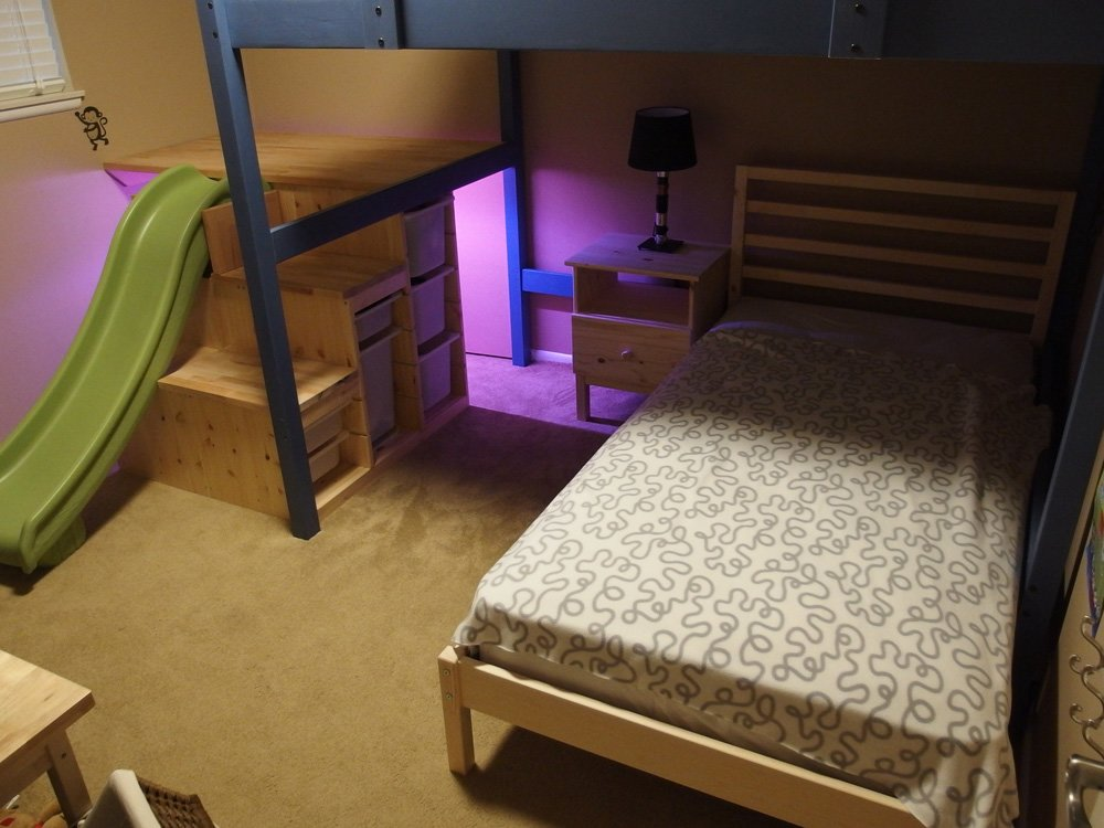 Wowee Full Over Twin Bed With Stairs Slide And Secret