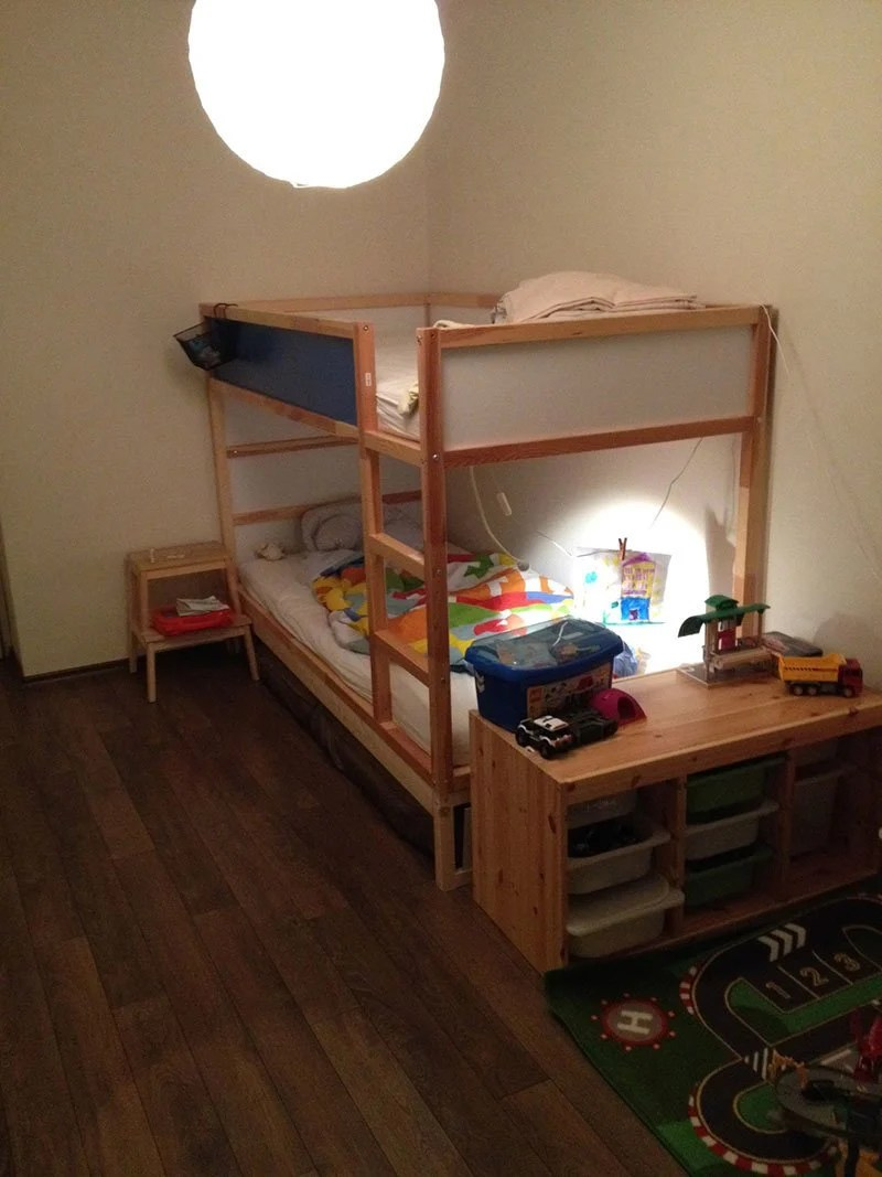Ikea Kura Double Bunk Bed Extra Hidden Bed Sleeps 3 Ikea Hackers