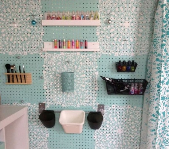 Stenciled pegboard organizer - how to organize makeup accessories