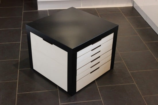Lego storage drawers beautifully built into lack table ikea hackers - Ikea table basse lack ...