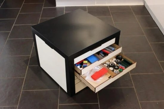 LACK table with LEGO Storage Drawers