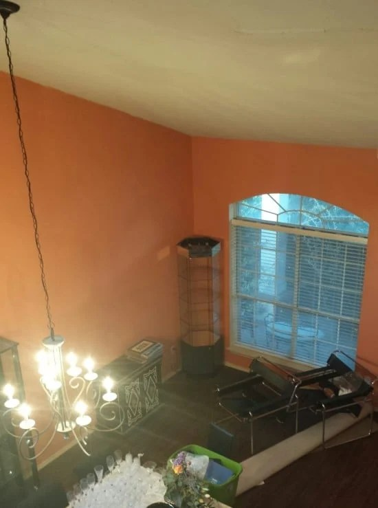 Our dining room with the sloping ceiling