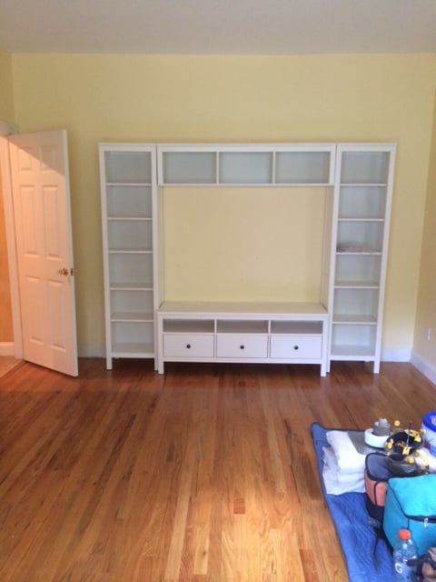 HEMNES entertainment unit with bridging shelf