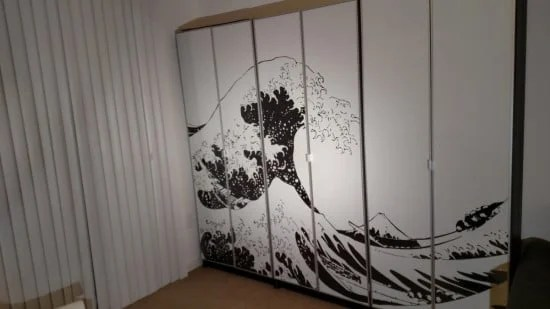 BILLY bookcase with large wall art