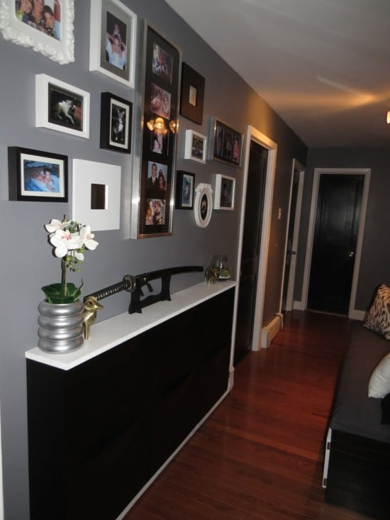 IKEA TRONES shoe cabinets become a hallway counter