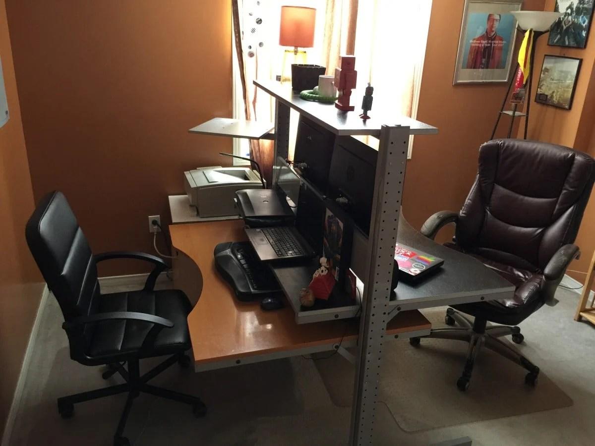 double sided jerker desk ikea hackers. Black Bedroom Furniture Sets. Home Design Ideas