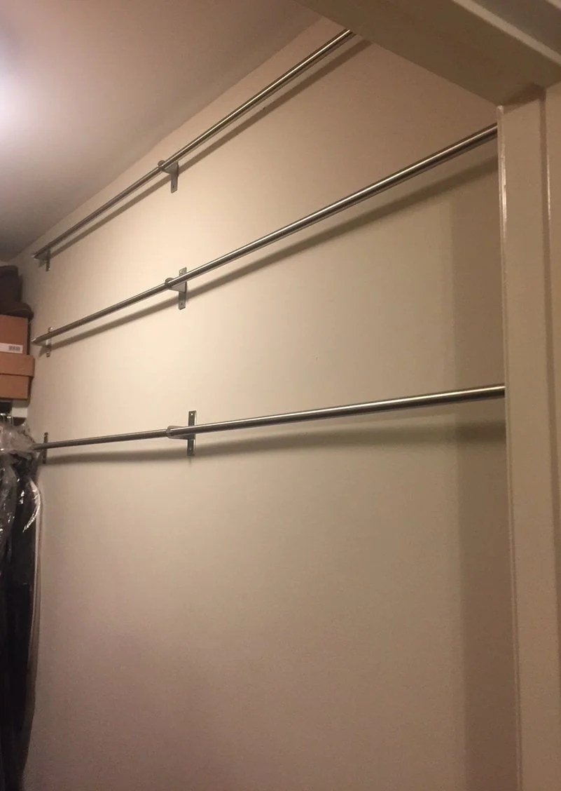 IKEA shoe organizer using kitchen rails