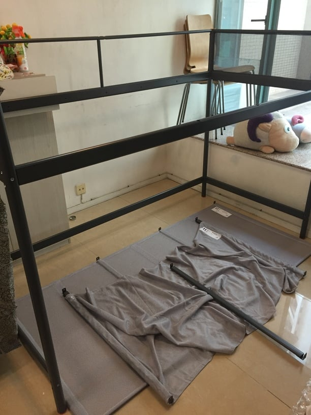 Marvelous As there is no lower bunk there will be an extra netting from the lower bunk bed base which I used for the hammock Insert a slat into end of the net