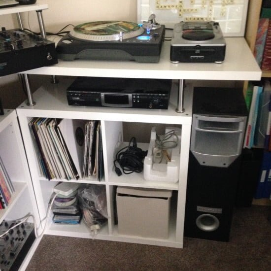 Space saving corner DJ/Music production unit