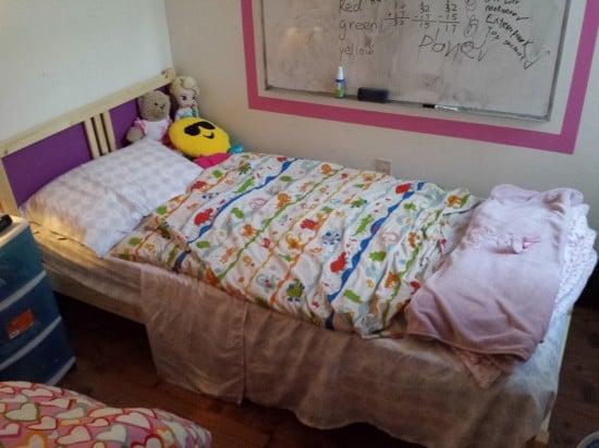 fjellse bed with purple headboard