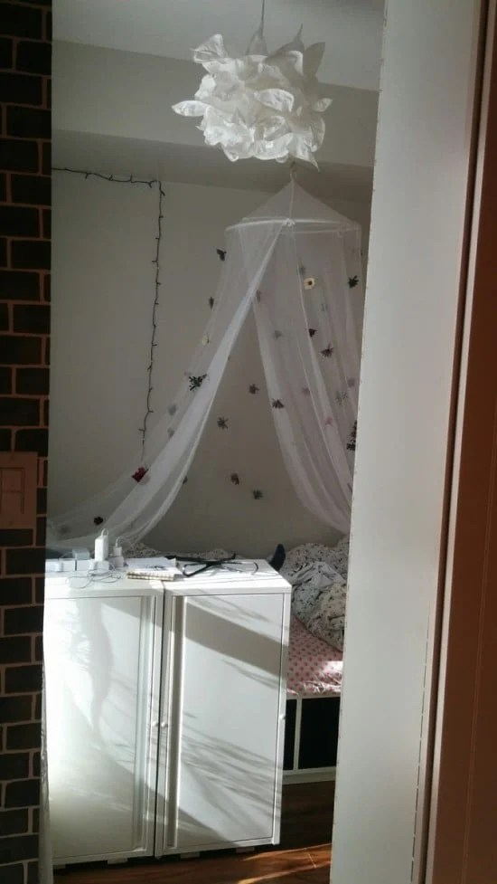 Decor inside the partitioned bedroom