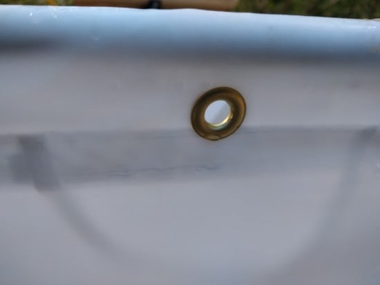 Laundry bag shortened and fastened with grommets