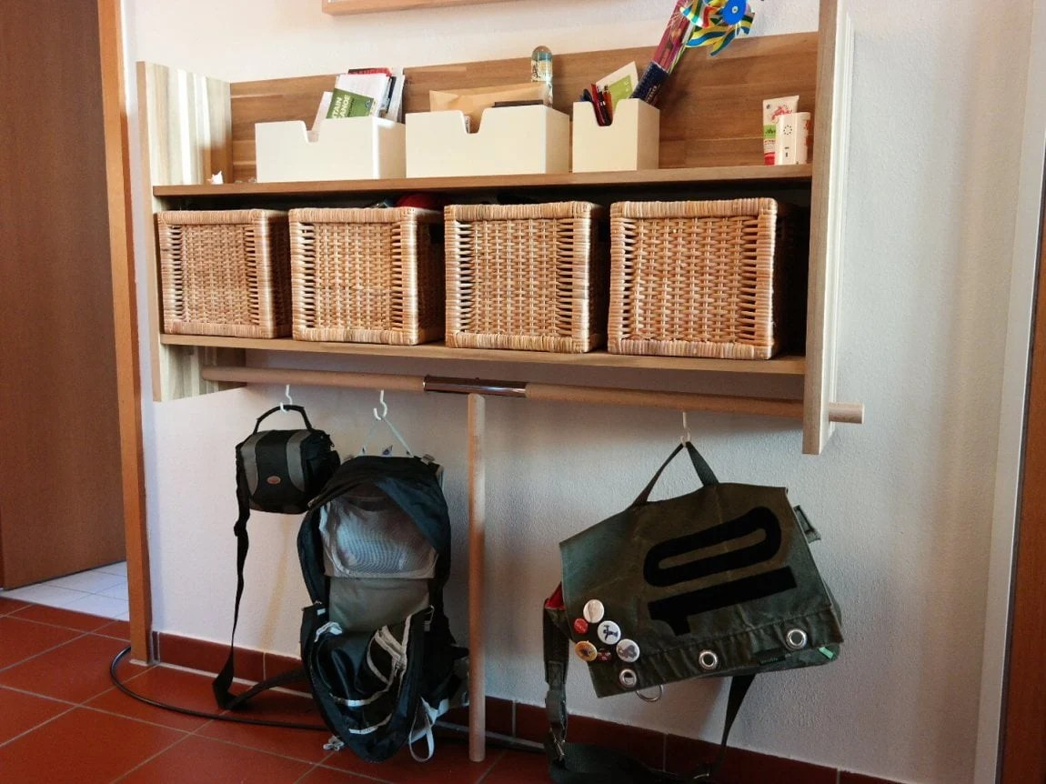 upgraded ikea skogsta wall shelf with bag hangers ikea hackers. Black Bedroom Furniture Sets. Home Design Ideas