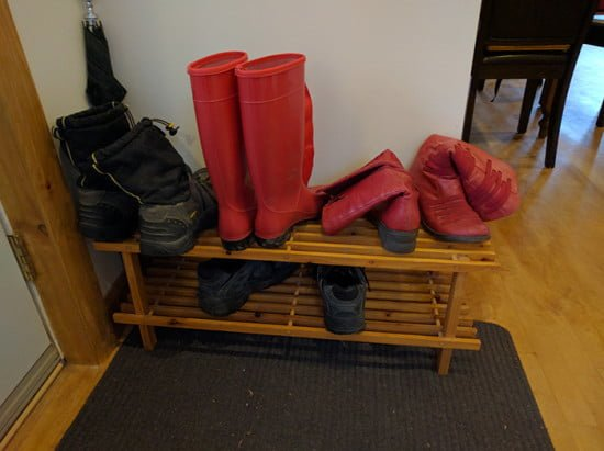 Before hack view - IKEA BABORD shoe rack
