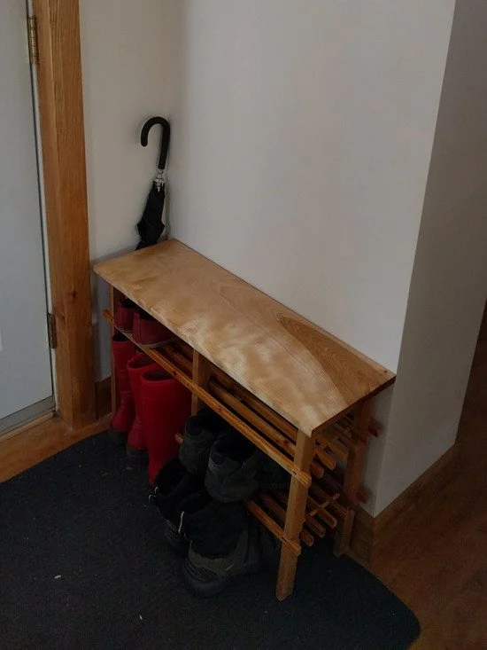 Final result side view - IKEA BABORD shoe rack hacked into custom bench