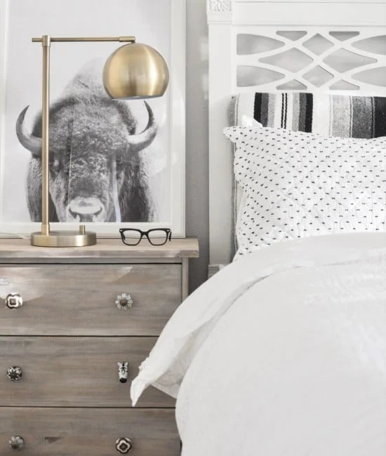 Driftwood stained RAST nightstand for the Scandinavian farmhouse feel