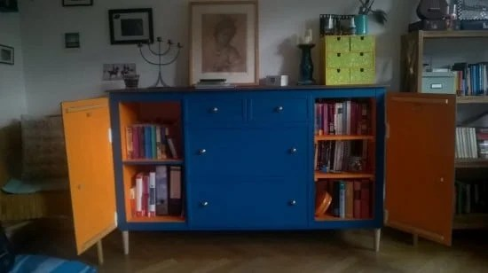 IKEA Expedit turns into beautiful blue sideboard cabinet