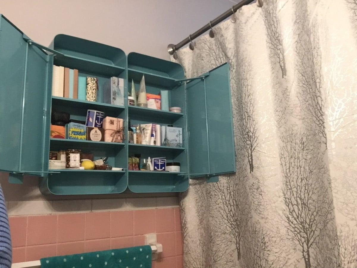 Epic  IKEA GUNNERN now a double bathroom cabinet open