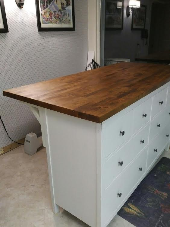 Spectacular Kitchen island hack from IKEA HEMNES chesy and KARLBY countertop