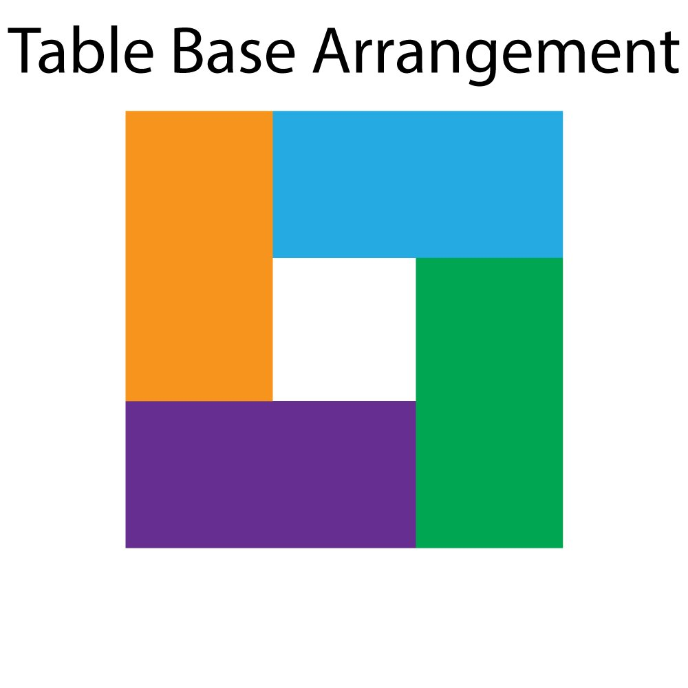 Square dining table - base-arrangement
