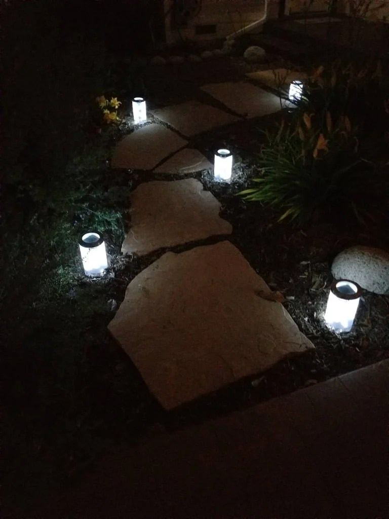 Solar pathway lights - night