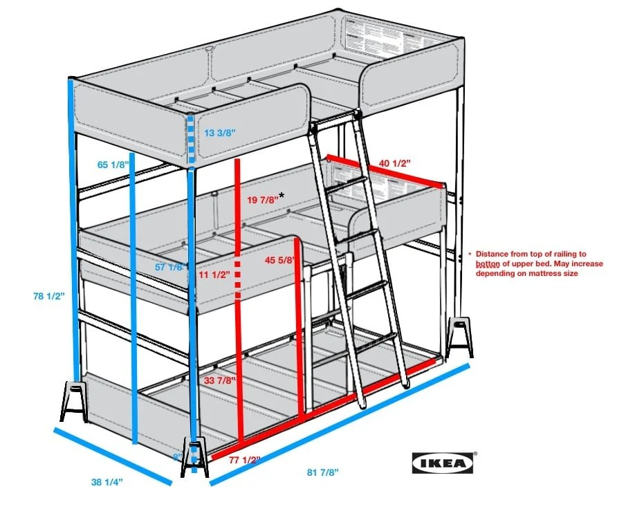 Great tuffing triple bunk bed
