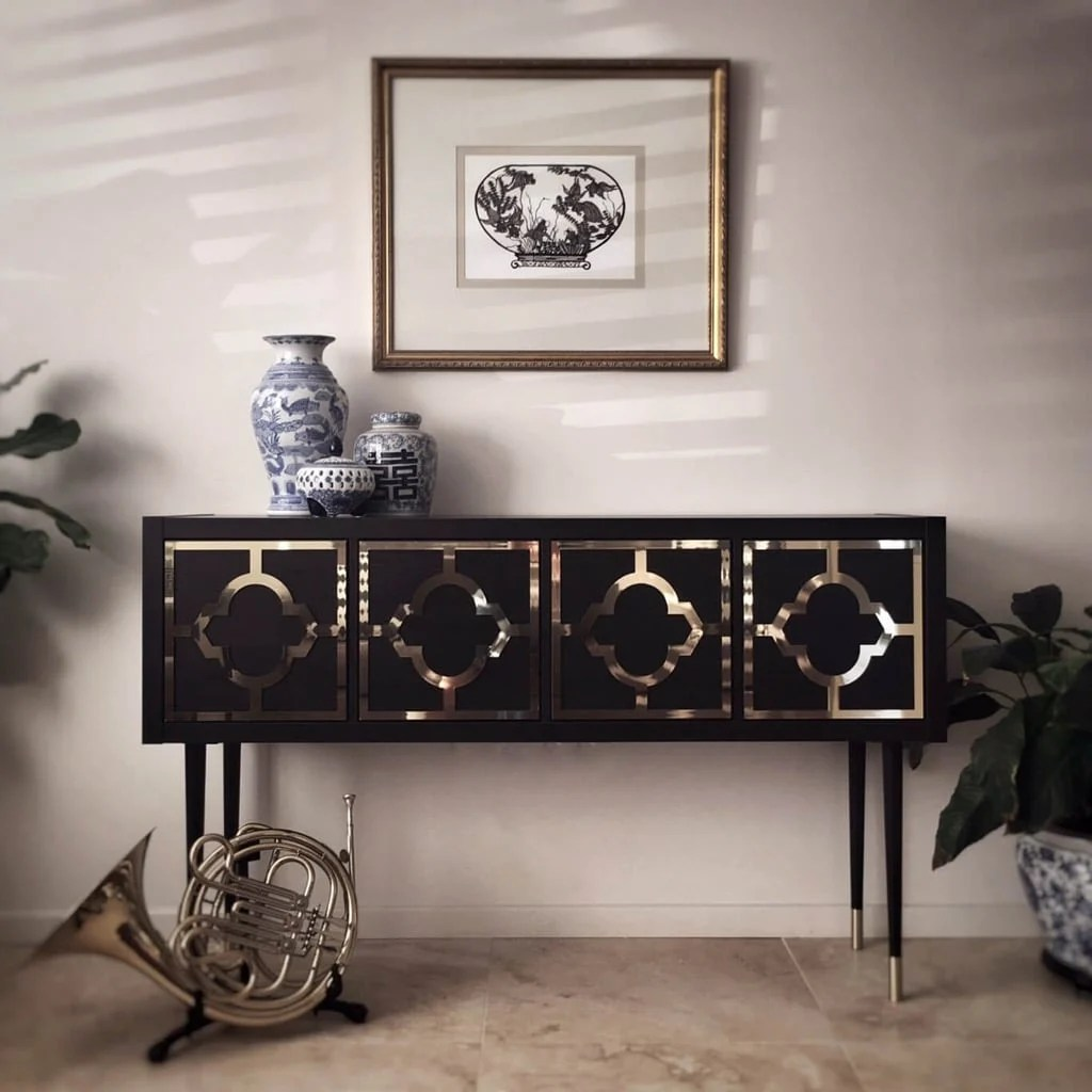 KALLAX glamorous gold and black credenza
