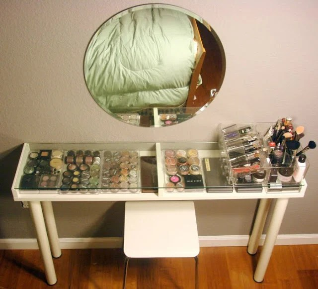 good morning makeup vanity with hair appliance caddy ikea hackers. Black Bedroom Furniture Sets. Home Design Ideas
