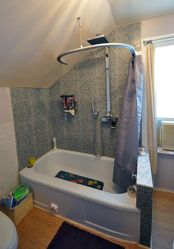 Kvartal Shower Curtain For Dormered Bathroom Ikea Hackers