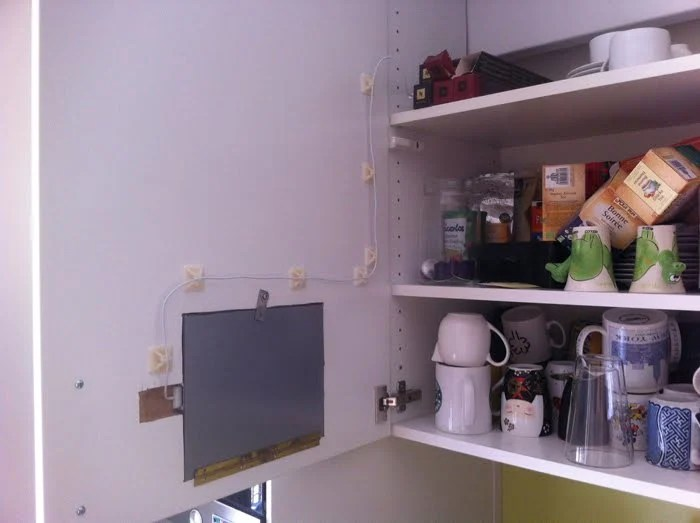 iPad Flush Mounted in Kitchen Cabinet - IKEA ers on kitchen cabinet radio cd player, microwave under cabinet, antique pooley radio cabinet, radio cd under cabinet,