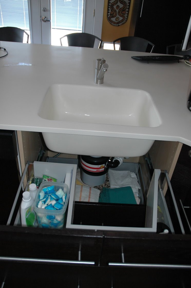 sink base with functional drawers