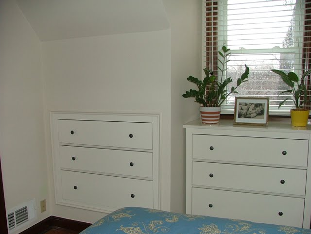 Space Saving Three Drawer Chest Inset Into Plasterboard