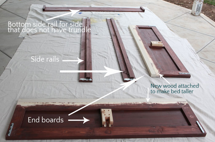 New On the Odda pull out bed we cut down the face board on the front as shown in the picture Then we attached a new board at inches tall and u long