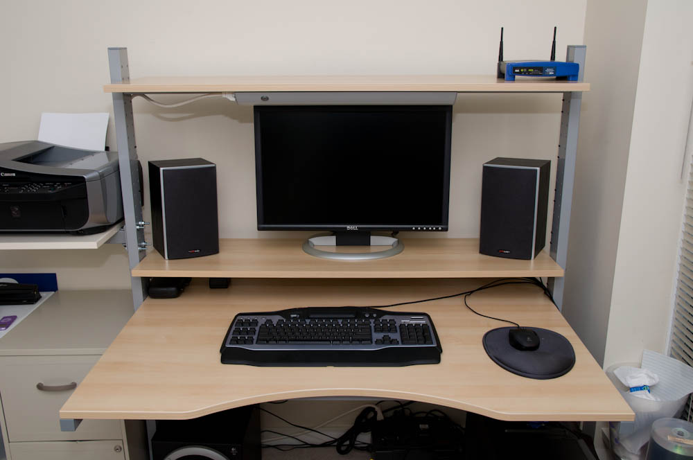 When I Need To Use My Desk, I Slide My Mouse And Keyboard Underneath The  Split Level And Go About My Business. I Also Picked Up A Swing Arm With No  Shelf ... Good Looking