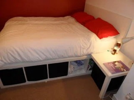 Bed Made From Lack Table And Expedit Self Ikea Hackers