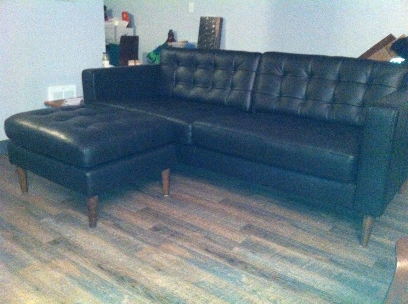 mid century leather karlstad sofa u0026 ottoman