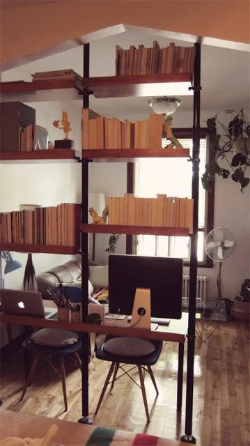 mid century style space divider and desk