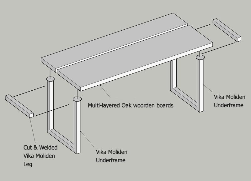 minimal desk with vika molinden legs