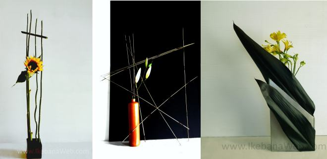 3 examples of different usages of lines in Ikebana. Sogetsu school. IkebanaWeb.com