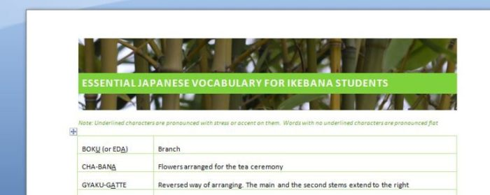 Preview of the PDF document with 70 Japanese terms useful for ikebana students